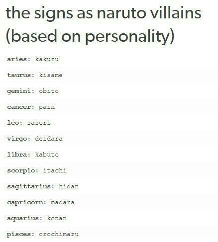 Astrology Quotes The Signs As Naruto Villains Based On