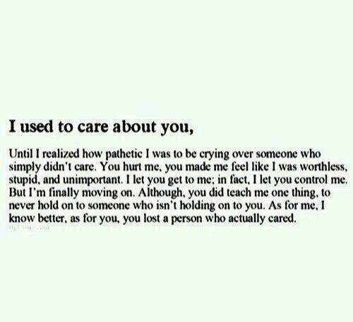 Quotes About Ex  I Used To Care About You   Quotes Boxes  You