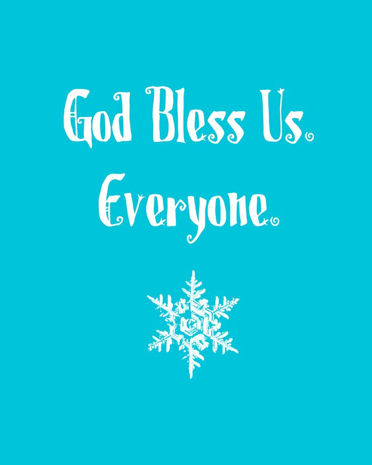Christmas Quotes God Bless Us Printable In Blue Quotes Boxes