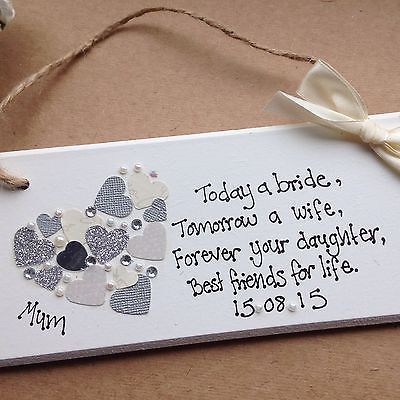 Wedding Quotes : personalised Gift Chic Heart Plaque Mother Of The