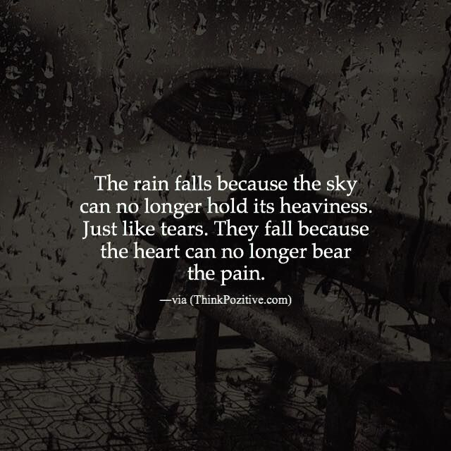 Positive Quotes The Rain Falls Because The Sky Can No Longer Hold