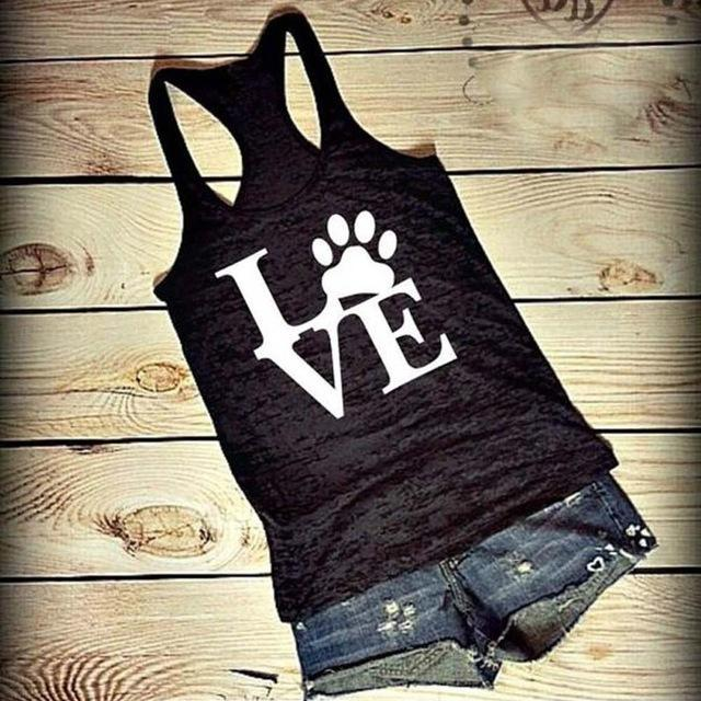 Women's Tank Tops Bear Paw LOVE Vest Black and White
