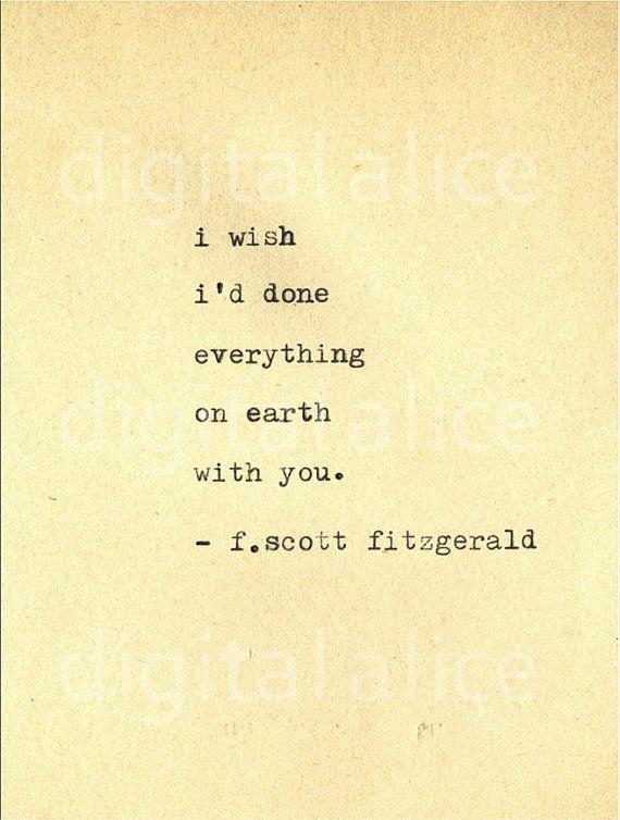 Soulmate Quotes Vintage Typewriter Print F Scott Fitzgerald Quote